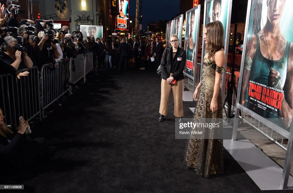 Alicia Vikander attends the premiere of Warner Bros. Pictures' 'Tomb Raider' at TCL Chinese Theatre on March 12, 2018 in Hollywood, California.