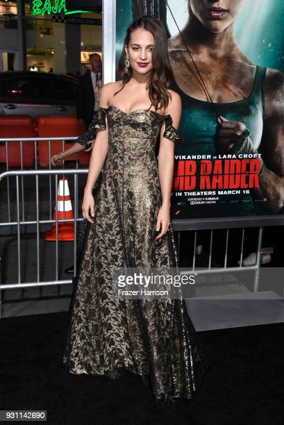 Alicia Vikander attends the Premiere Of Warner Bros Pictures' Tomb Raider at TCL Chinese Theatre on March 12 2018 in Hollywood California