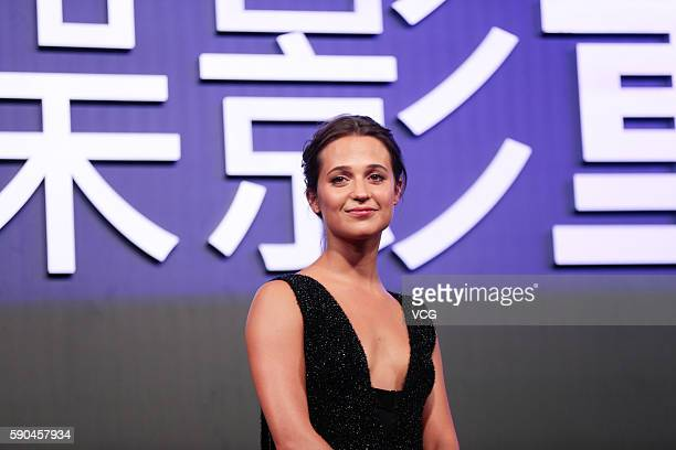 Alicia Vikander attends the red carpet during 'Jason Bourne' Press Conference at Phoenix Center on August 16 2016 in Beijing China