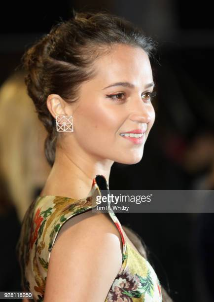 Alicia Vikander attends the Tomb Raider European premiere at the Vue West End on March 6 2018 in London England