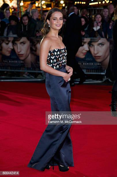 Alicia Vikander attends the UK Film Premiere of 'The Danish Girl' on December 8 2015 in London United Kingdom