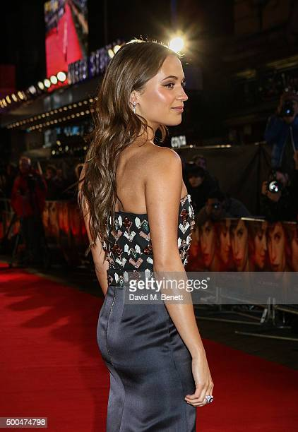 Alicia Vikander attends the UK Premiere of The Danish Girl at Odeon Leicester Square on December 8 2015 in London United Kingdom