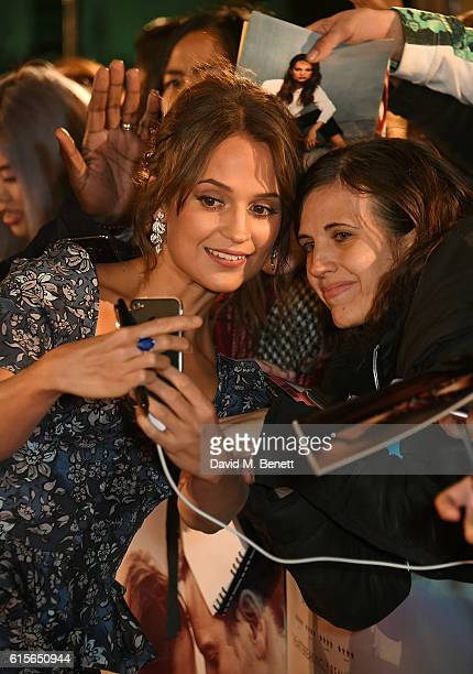 Alicia Vikander attends the UK Premiere of 'The Light Between Oceans' at The Curzon Mayfair on October 19 2016 in London England