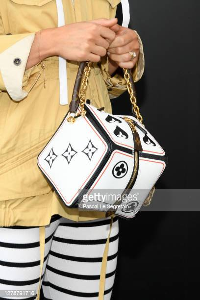 Alicia Vikander bag detail attends the Louis Vuitton Womenswear Spring/Summer 2021 show as part of Paris Fashion Week on October 06 2020 in Paris...