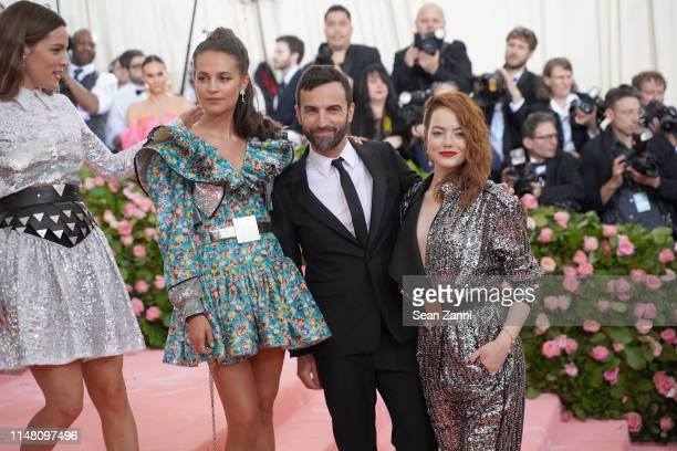 Alicia Vikander Emma Stone and Nicolas Ghesquiere attend The Metropolitan Museum Of Art's 2019 Costume Institute Benefit Camp Notes On Fashion at...