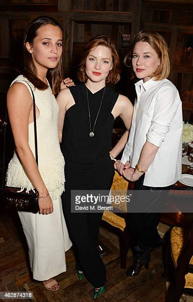 Alicia Vikander Holliday Grainger and guest attend Harvey Weinstein's BAFTA Dinner in partnership with Burberry GREY GOOSE at Little House Mayfair on...