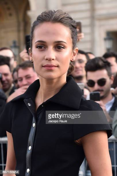 Alicia Vikander is seen arriving at Louis Vuitton show during Paris Fashion Week Womenswear Spring/Summer 2018 on October 3 2017 in Paris France