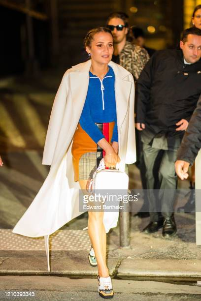 Alicia Vikander is seen outside the Vuitton show during Paris Fashion Week Womenswear Fall/Winter 2020/2021 on March 03 2020 in Paris France