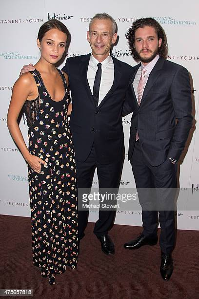 Alicia Vikander James Kent and Kit Harington attend the Testament Of Youth New York Premiere at Chelsea Bow Tie Cinemas on June 2 2015 in New York...