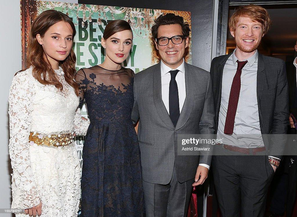 Alicia Vikander, Keira Knightley, Joe Wright and Domhnall Gleeson attend the 'Anna Karenina' New York Special Screening at Florence Gould Hall on November 7, 2012 in New York City.