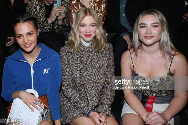 Alicia Vikander, Lea Seydoux and Florence Pugh attend the Louis Vuitton show as part of the Paris Fashion Week Womenswear Fall/Winter 2020/2021 on...