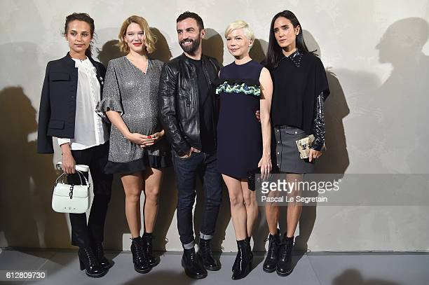 Alicia Vikander Lea Seydoux Nicolas Ghesquiere Michelle Williams and Jennifer Connelly attend the Louis Vuitton show as part of the Paris Fashion...