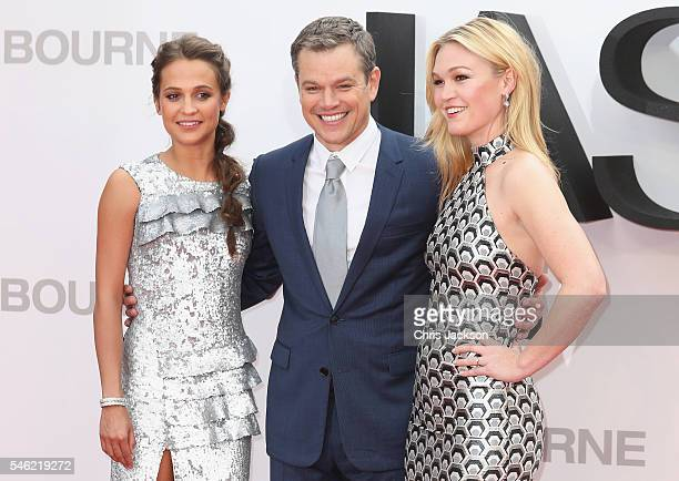 Alicia Vikander Matt Damon and Julia Stiles attend the Jason Bourne European premiere at the Odeon Leicester Square on July 11 2016 in London England