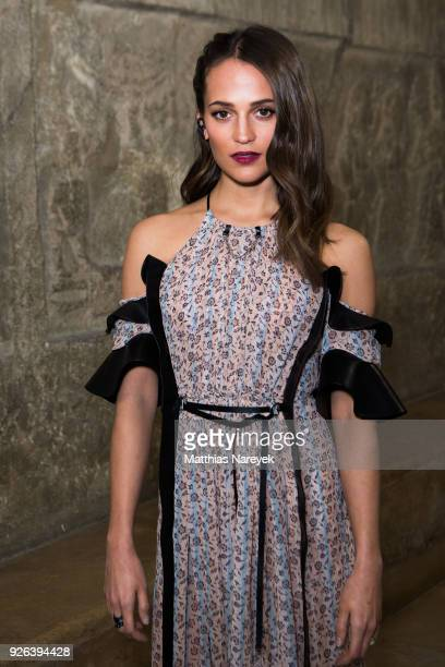 Alicia Vikander poses during the 'Tomb Raider' photo call at Pergamon Museum on March 2, 2018 in Berlin, Germany.