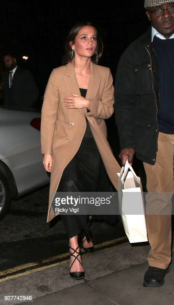 Alicia Vikander seen arriving back at her hotel after filming The One Show at BBC Broadcasting House on March 5 2018 in London England