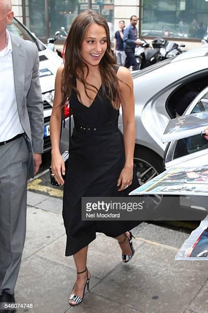 Alicia Vikander seen at BBC Radio 2 promoting new movie 'Jason Bourne' on July 11 2016 in London England