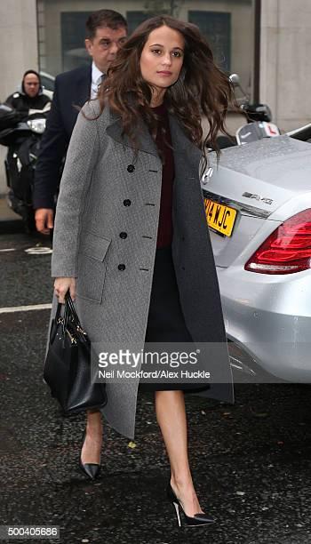 Alicia Vikander seen at BBC Radio Studios on December 8 2015 in London England