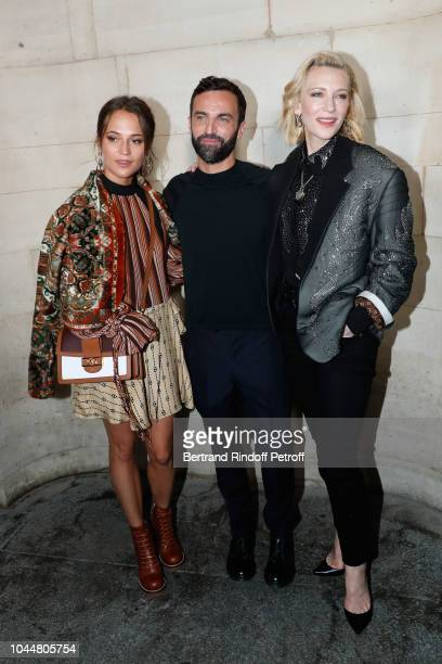 Alicia Vikander Stylist Nicolas Ghesquiere and Cate Blanchett pose after the Louis Vuitton show as part of the Paris Fashion Week Womenswear...