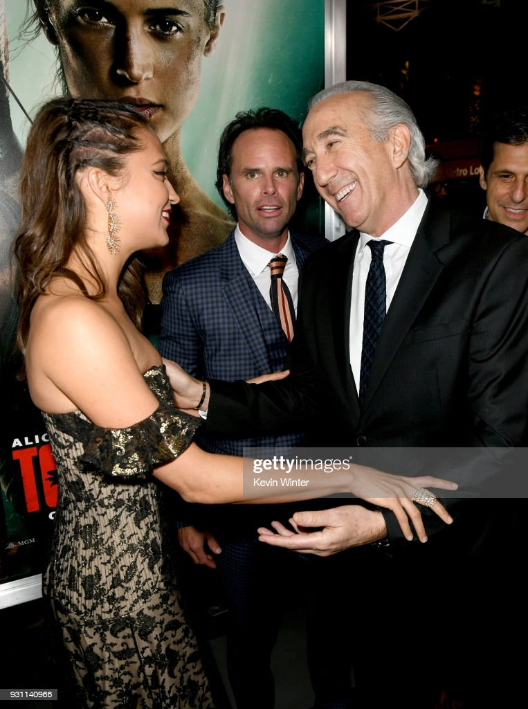 Alicia Vikander, Walton Goggins, and Gary Barber attend the premiere of Warner Bros. Pictures' 'Tomb Raider' at TCL Chinese Theatre on March 12, 2018 in Hollywood, California.