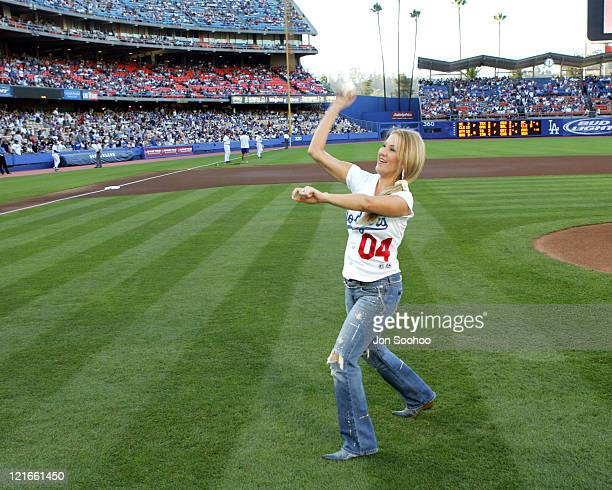 Alicia Villareal during Los Angeles Dodgers vs San Diego Padres National Anthem July 24 2004 at Dodger Stadium in Los Angeles California United States