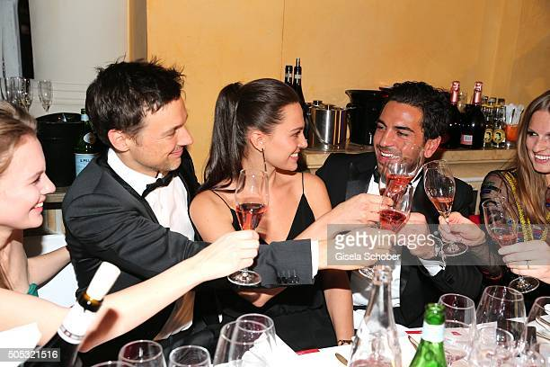 Alicia von Rittberg Florian David Fitz girlfriend Julia Czechner and Elyas M'Barek during the German Film Ball 2016 party at Hotel Bayerischer Hof on...