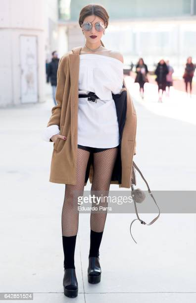 Alicia wears Berska jacket Calzedonia socks Ralph Lauren shirt and Marypaz shoes during the Mercedes Benz Fashion Week Autumn / Winter 2017 at Ifema...