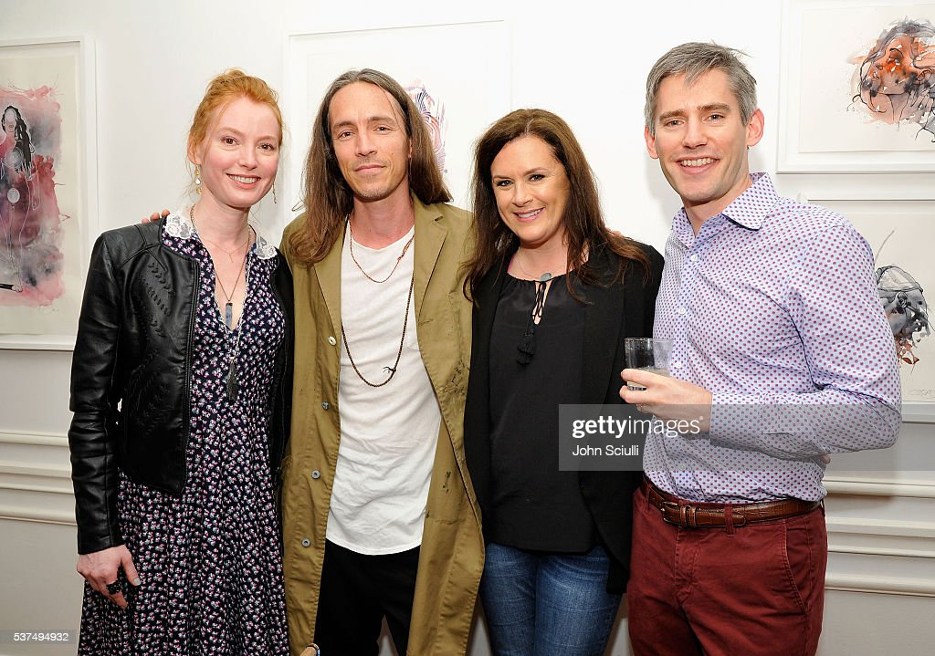 Alicia Witt, actress, singer/songwriter/pianist, Brandon Boyd, artist, singer/songwriter, Jennifer Howell, Art of Elysium founder and Charles Whitfield, The Macallan, manager of brand education and fine & rare whiskies attend The Art of Elysium and The Macallan's Men In The Arts: The Work of Brandon Boyd on June 1, 2016 in Los Angeles, California.
