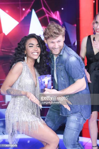 AliciaAwa Beissert and Nick Ferretti pose after the second event show of the tv competition Deutschland sucht den Superstar at Coloneum on April 13...