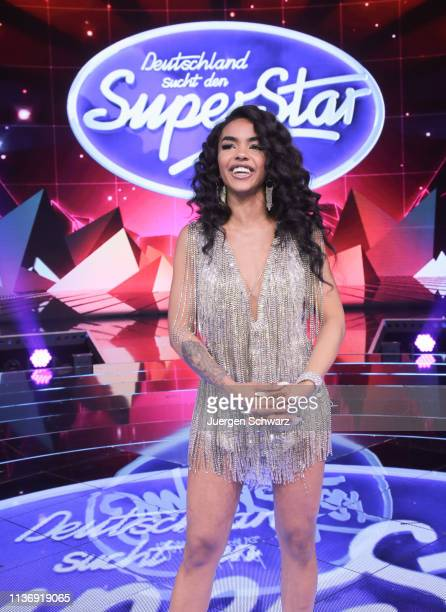 AliciaAwa Beissert poses after the second event show of the tv competition Deutschland sucht den Superstar at Coloneum on April 13 2019 in Cologne...