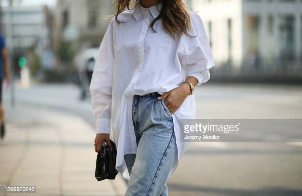 Alicija Laureen wearing white Weekday blouse black Mango bag and Nakd jeans on August 17 2020 in Hamburg Germany