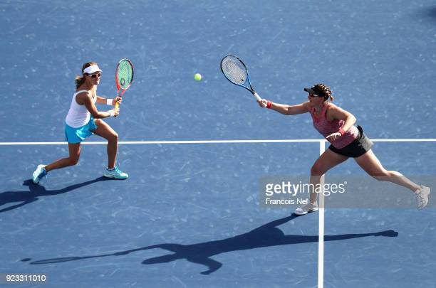 Alicja Rosolska of Poland and Abigail Spears of USA in action against HaoChing Chan of Taiwan and Zhaoxuan Yang of China during the women's doubles...