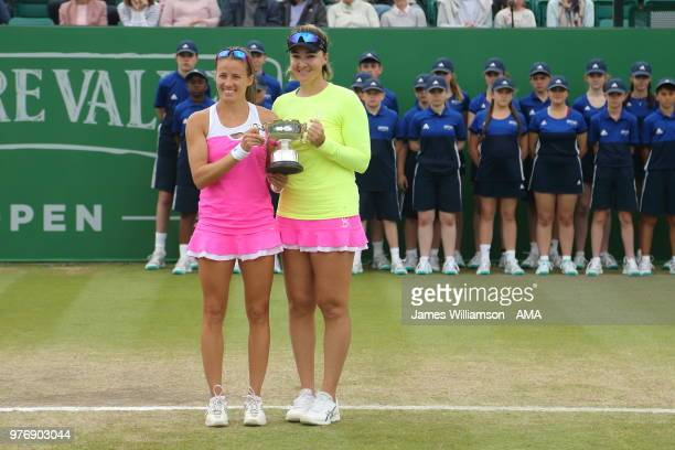 Alicja Rosolska of Poland and Abigail Spears of USA with the winners trophy for the WTA Doubles final during Day Nine of the Nature Valley open at...