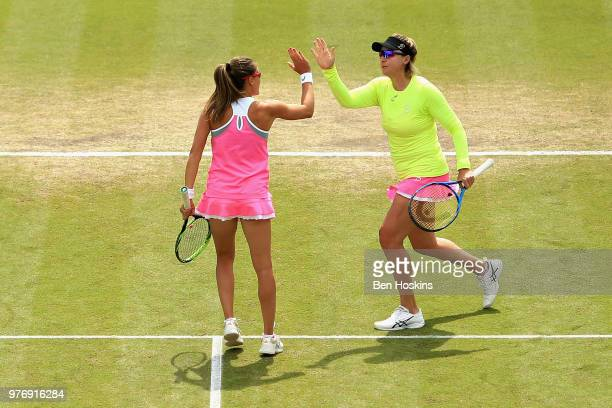 Alicja Rosolska of Poland reacts with Abigail Spears of USA in the Womens Doubles Final during Day Nine of the Nature Valley Open at Nottingham...