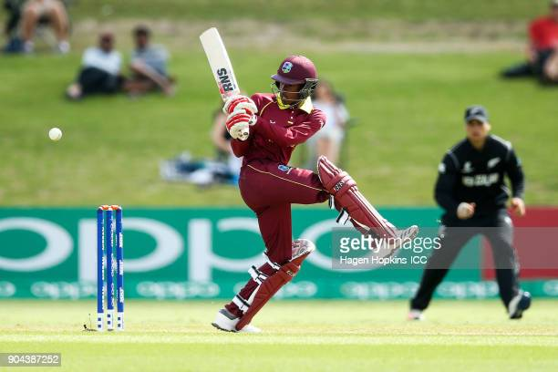 Alick Athanaze of the West Indies bats during the ICC U19 Cricket World Cup match between New Zealand and the West Indies at Bay Oval on January 13...