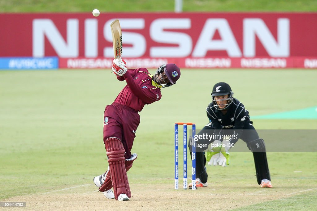 Alick Athanaze of the West Indies bats during the ICC U19 Cricket World Cup match between New Zealand and the West Indies at Bay Oval on January 13, 2018 in Tauranga, New Zealand.