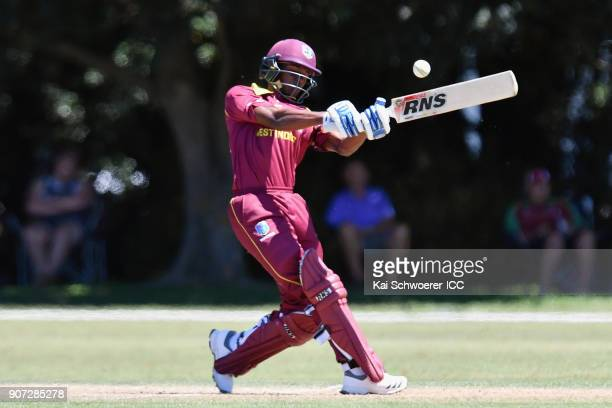 Alick Athanaze of the West Indies bats during the ICC U19 Cricket World Cup match between the West Indies and Kenya at Lincoln Oval on January 20...