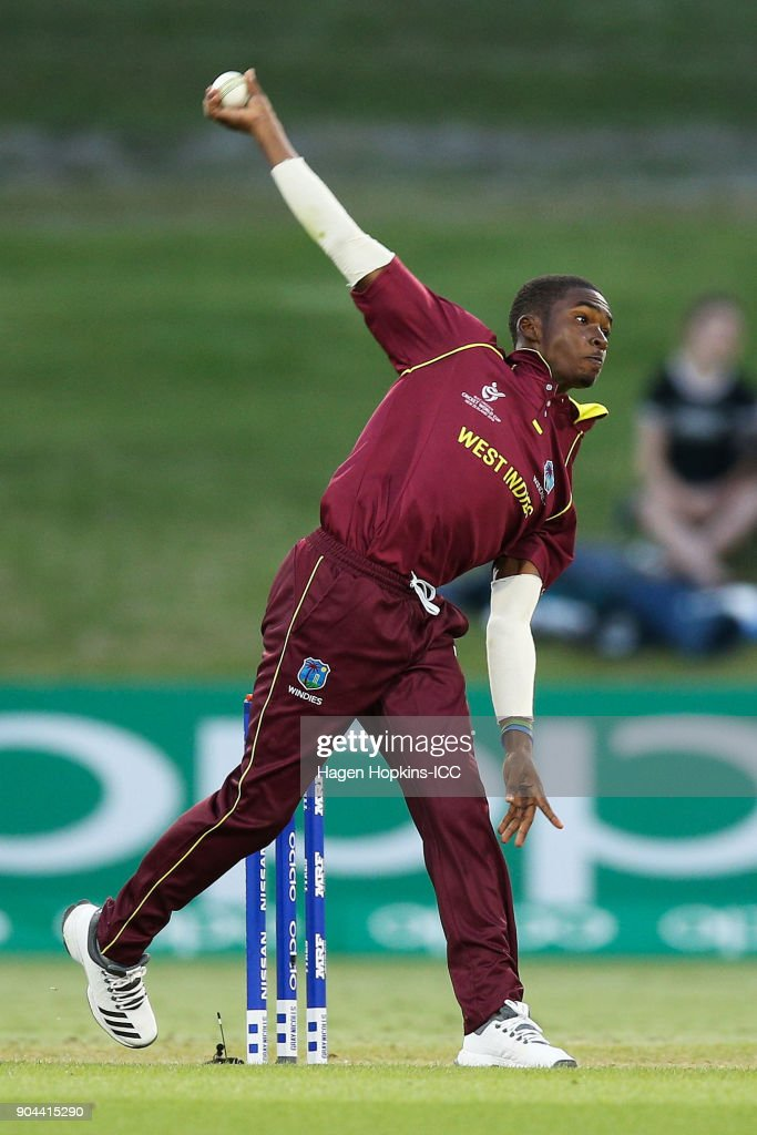 Alick Athanaze of the West Indies bowls during the ICC U19 Cricket World Cup match between New Zealand and the West Indies at Bay Oval on January 13, 2018 in Tauranga, New Zealand.