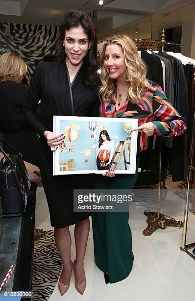 """Alida Boer and Sara Blakely pose for a photo together as Sara Blakely and Alice + Olivia celebrate the launch of """"The Belly Art Project"""" on October..."""
