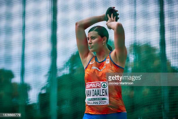 Alida Van Daalen of Netherlands competes in the Women's Discus Throw qualification during European Athletics U20 Championships Day 1 at Kadriorg...
