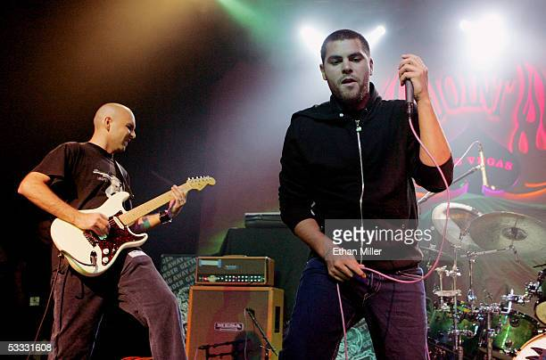 Alien Ant Farm guitarist Joe Hill and singer Dryden Mitchell perform at The Joint inside the Hard Rock Hotel Casino August 5 2005 in Las Vegas Nevada...