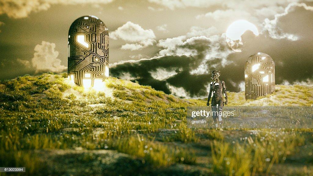 Alien cyborg landing on a green planet : Stock Photo