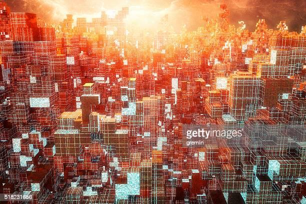 Alien futuristic cityscape