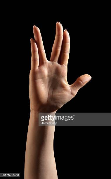 alien hand gesture - vulcan salute stock pictures, royalty-free photos & images