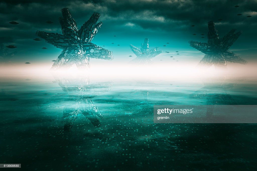 Alien landscape on distant planet : Stock Photo