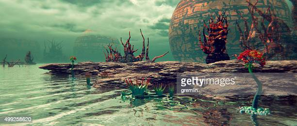 alien nature landscape, exoplanet - extrasolar planet stock pictures, royalty-free photos & images