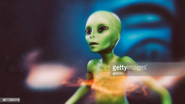 alien on the run - alien stock photos and pictures