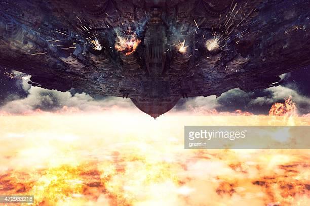 Alien spaceship destroying Earth