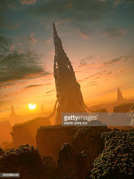 alien structures on an extrasolar planet - extrasolar planet stock pictures, royalty-free photos & images