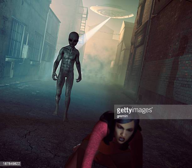 alien ufo abduction in dark street - military invasion stock pictures, royalty-free photos & images