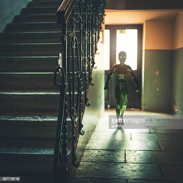 Alien walking in hallway of old house